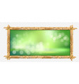 rectangle brown bamboo sticks frame with green vector image vector image