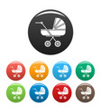 retro baby carriage icons set color vector image vector image