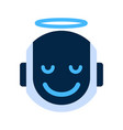 robot face icon smiling angel face emotion robotic vector image vector image