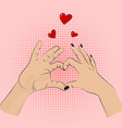 romance gesture sign pop art style women vector image