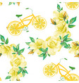 roses bicycle lemon wheels white background vector image