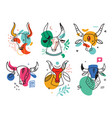 set drawn bull abstract contemporary modern vector image vector image