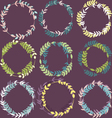 Set of colorful leafy wreaths round frames vector image vector image