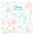set of ocean animals and plants vector image vector image