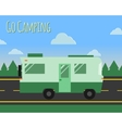 Summer camp travel poster logo badge Motorhome on vector image vector image