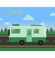 summer camp travel poster logo badge motorhome vector image