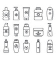 sunscreen bottle icon set outline style vector image vector image