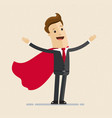 super businessman in red cloak greeting vector image