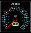 the 2019 year calendar speedometer car august vector image vector image