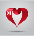 tunisian flag heart-shaped ribbon vector image