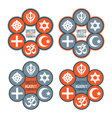 United against terrorism icon set vector image