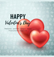 valentines day background with glossy hearts vector image vector image