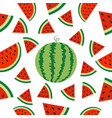 watermelon whole ripe slice icon half cut with vector image vector image