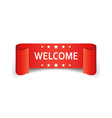 welcome ribbon icon hello sticker label on white vector image