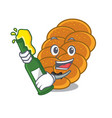 with beer challah mascot cartoon style vector image vector image