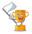 with flag golden trophy cup isolated on mascot vector image