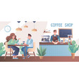 young couple drinking in a coffee shop vector image