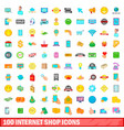 100 internet shop icons set cartoon style vector image
