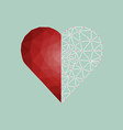 Low polygonal of red heart with white line vector image