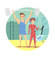 muscular man and healthy sexy woman wearing sport vector image