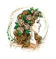 woman in flower wreath vector image