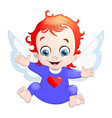 a baby cupid with a heart cartoon vector image vector image