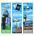air transportation service banners with plane crew vector image vector image