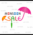 Big Monsoon sale banner for different discounts vector image