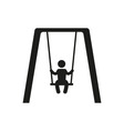 boy swinging on a swing in park silhouette vector image