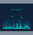 brasilia skyline brazil linear style city vector image vector image