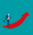 businessman going up on the red arrow concept vector image vector image