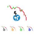 candlestick chart ripple crash icon vector image vector image
