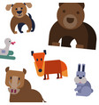 cartoon flat animals pattern with cute bear vector image