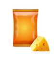 chips empty foil bag with cheese realistic vector image vector image