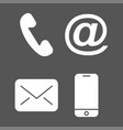 contact icons white icons on black background vector image