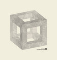 cube connection structure 3d grid design vector image vector image