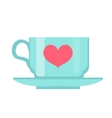 Cup with heart flat design Isolated on white vector image