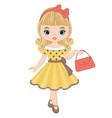Cute little girl in retro style