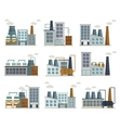 Factory Decorative Flat Icons Set vector image vector image