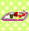 fast food on a tray coffee burger ice cream vector image vector image