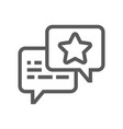 feedback and testimonials line icon vector image vector image