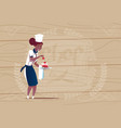 female african american chef cook holding dessert vector image