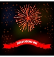 Firework and Red Ribbon on Night Sky Background vector image vector image