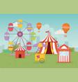 fun fair carnival tent air balloon booth tickets vector image