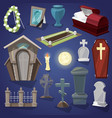 graveyard scary cemetery and halloween vector image