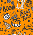 Halloween ink hand drawn ghosts and pumpkins vector image vector image