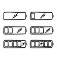 hand drawn battery charging icon with doodle vector image vector image