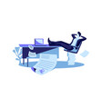 happy businessman sits with legs on table cartoon vector image