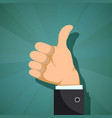 human hand with thumb up vector image