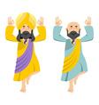 Indian yogi meditates Two people practicing yoga vector image